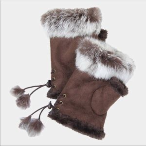 Nadia Rima Chocolate Faux Fur Fingerless Gloves